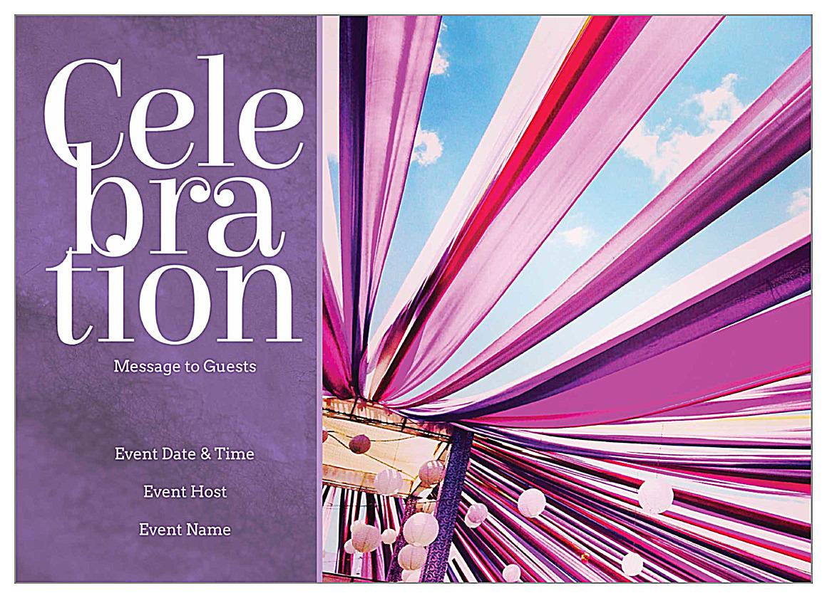 free ribbon celebration invitation card design templates