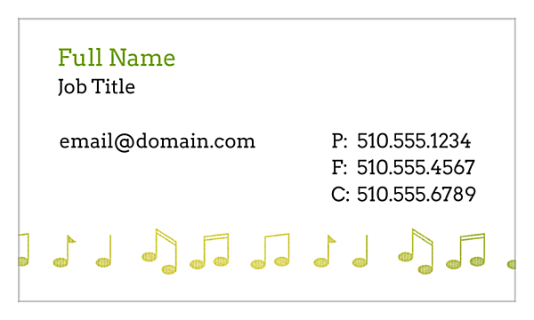Music Notes front - Business Cards Maker