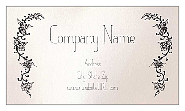 Print custom business cards with our flower border template flower border front business cards maker flashek Choice Image