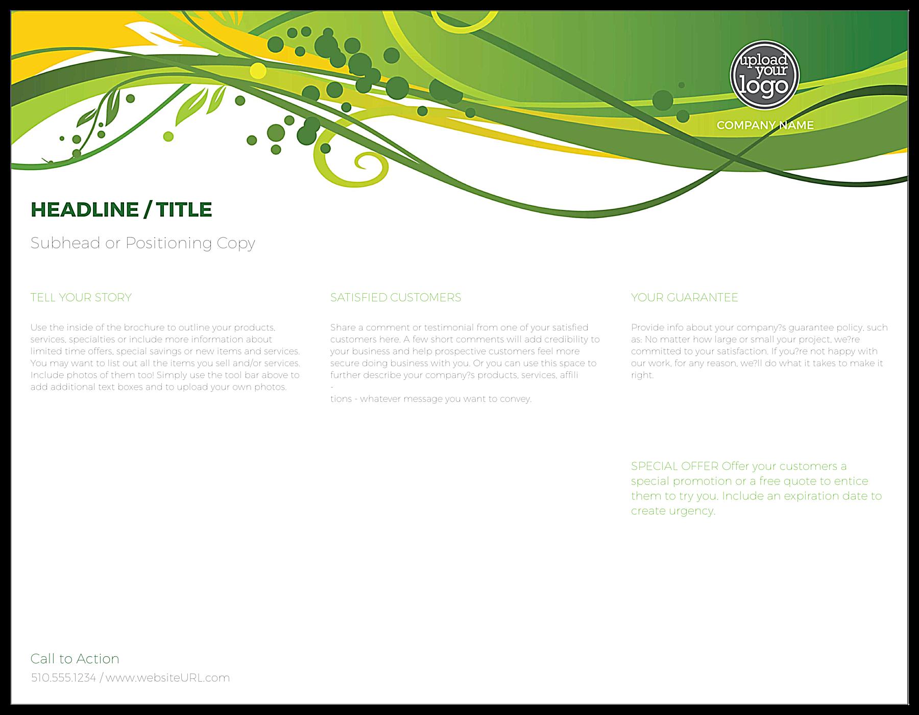 Green Floral Flow back - Brochures Maker