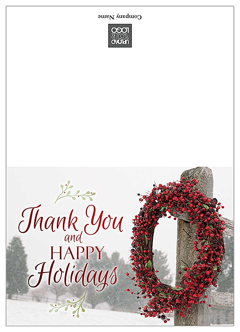Happy Holidays Wreath front - Greeting Cards Maker