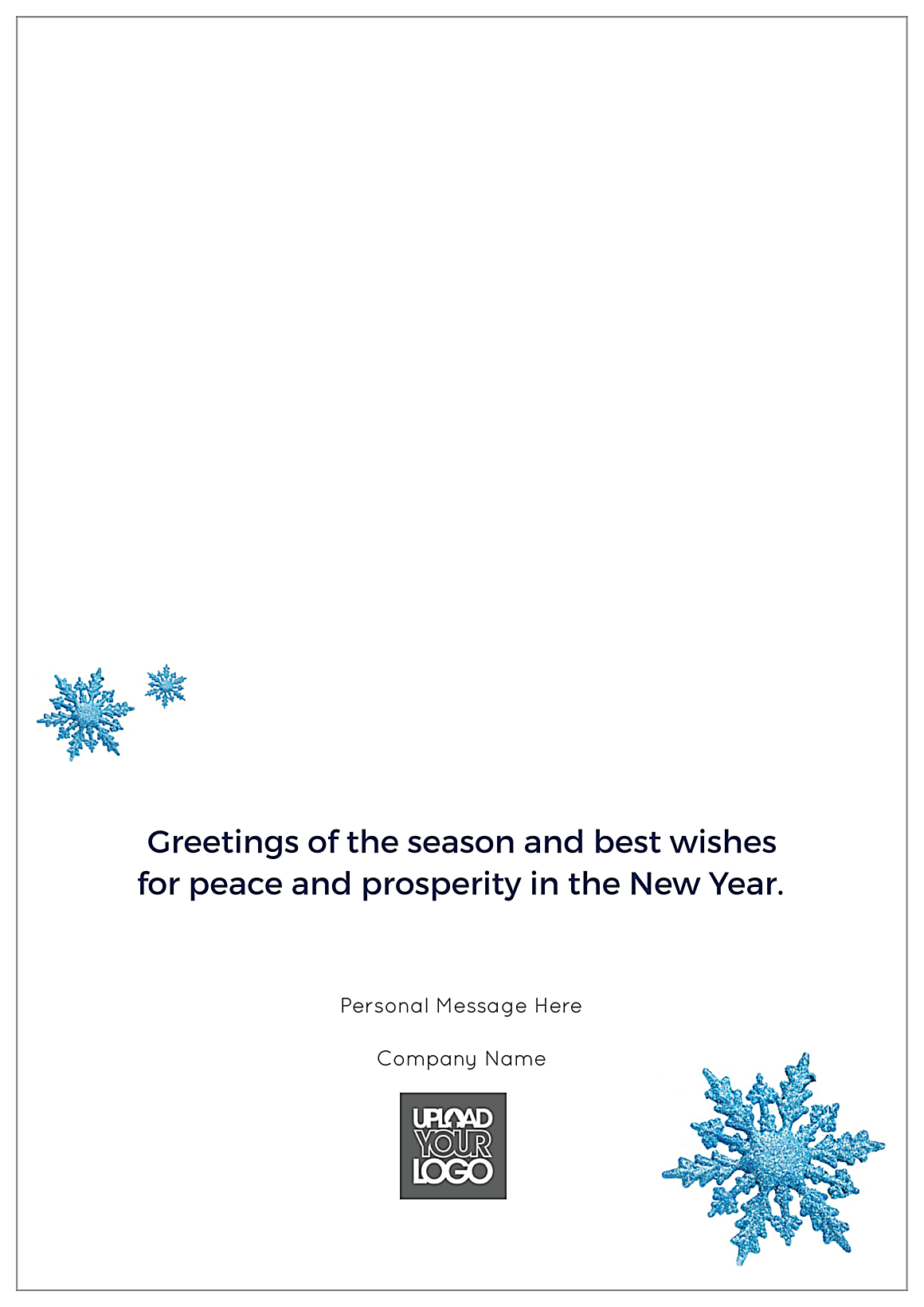 Blue Happy Holidays back - Greeting Cards Maker