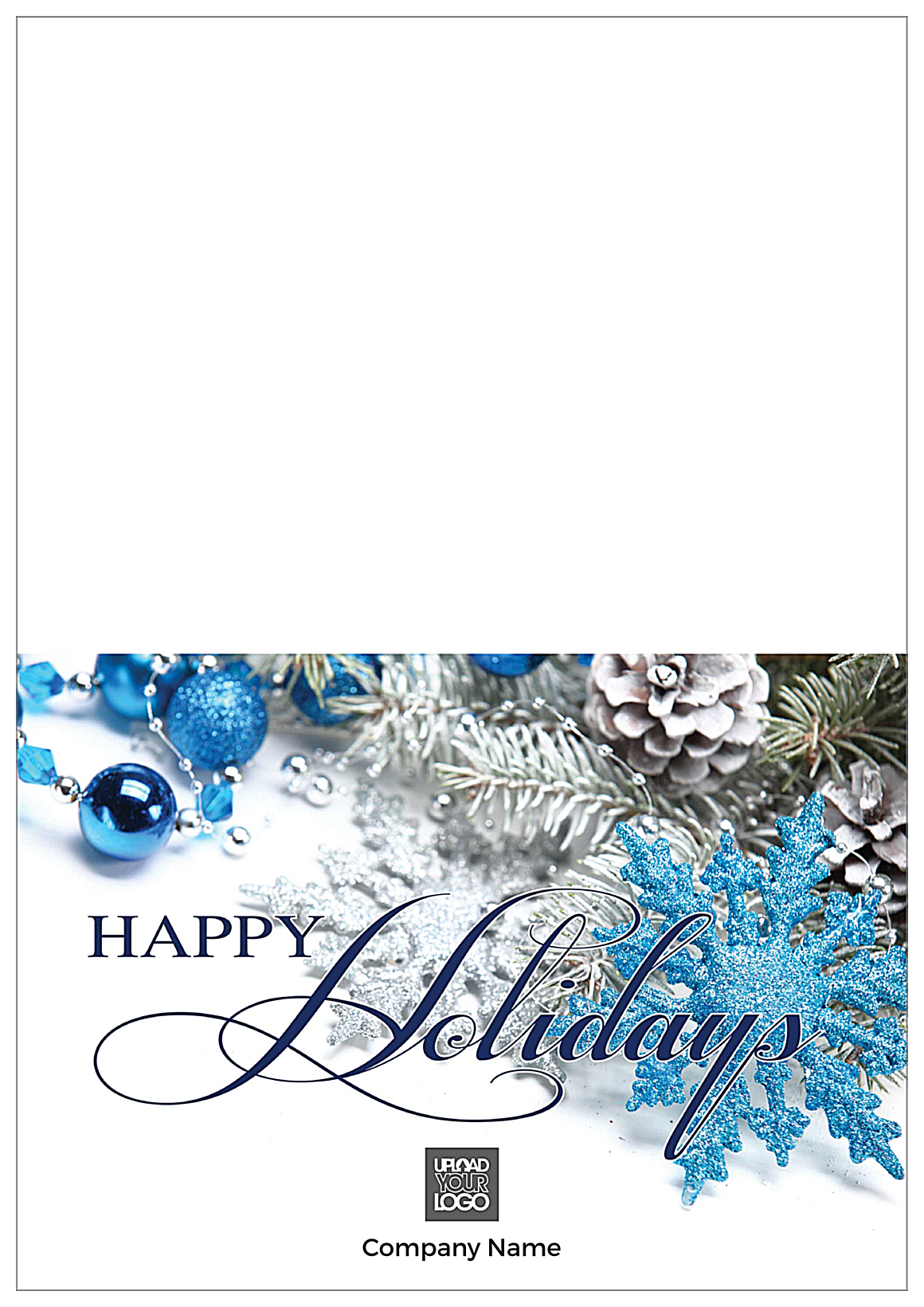 Blue Happy Holidays front - Greeting Cards Maker