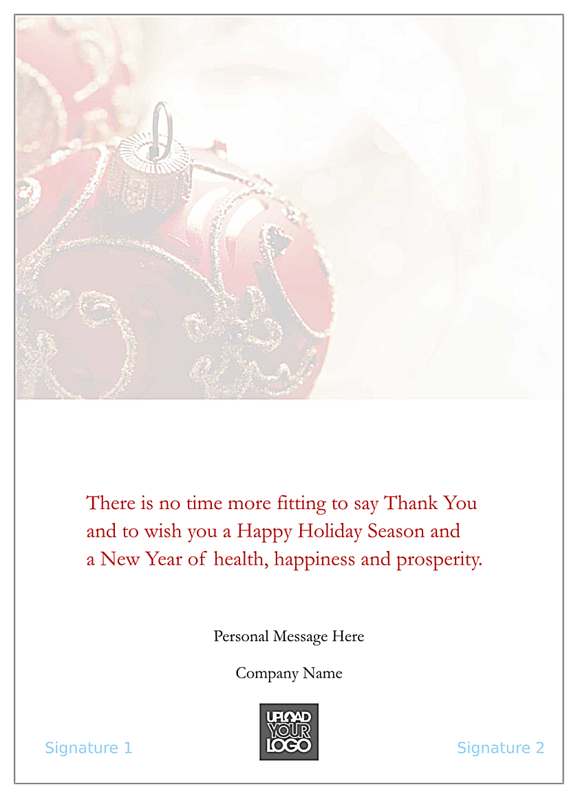 Red Christmas Ornament back - Greeting Cards Maker