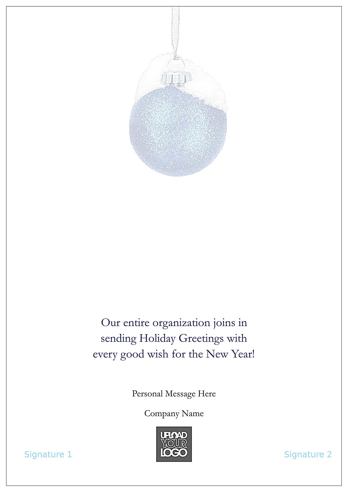 Holiday Blue and Silver back - Greeting Cards Maker