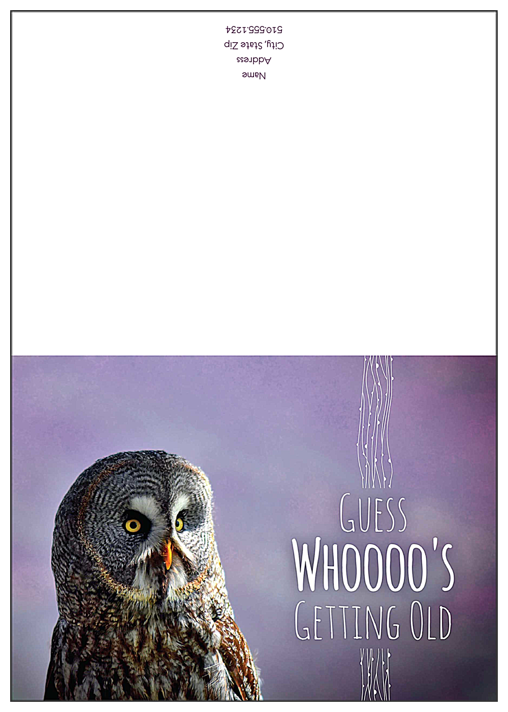 Birthday Owl front - Greeting Cards Maker