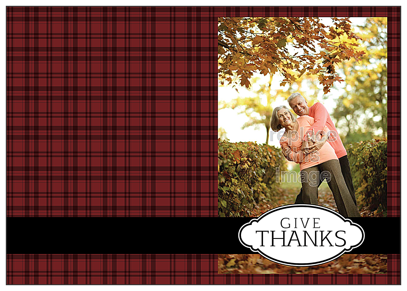 Thanks Plaid front - Greeting Cards Maker