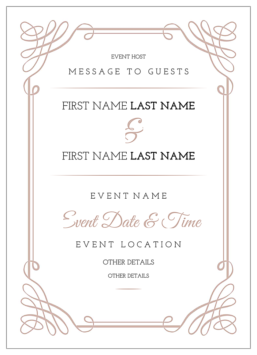 free scroll down the aisle invitation card design template