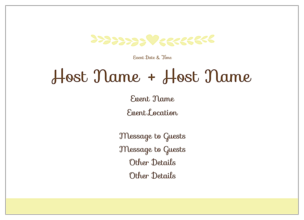 Free Lovely Laurel Invitation Card Design Template back - Invitation Cards Maker