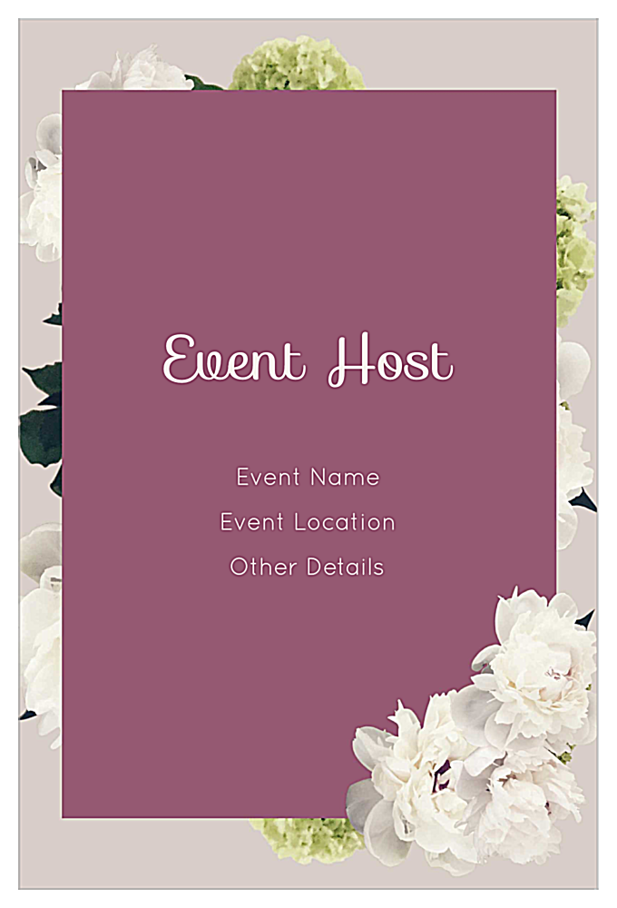 White Flowers back - Invitation Cards Maker