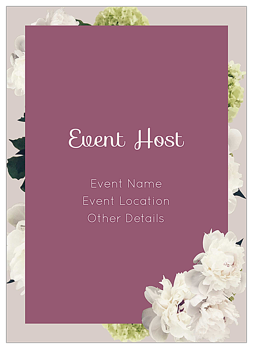 Easy-To-Use White Flowers Invitation Card Design Templates back - Invitation Cards Maker