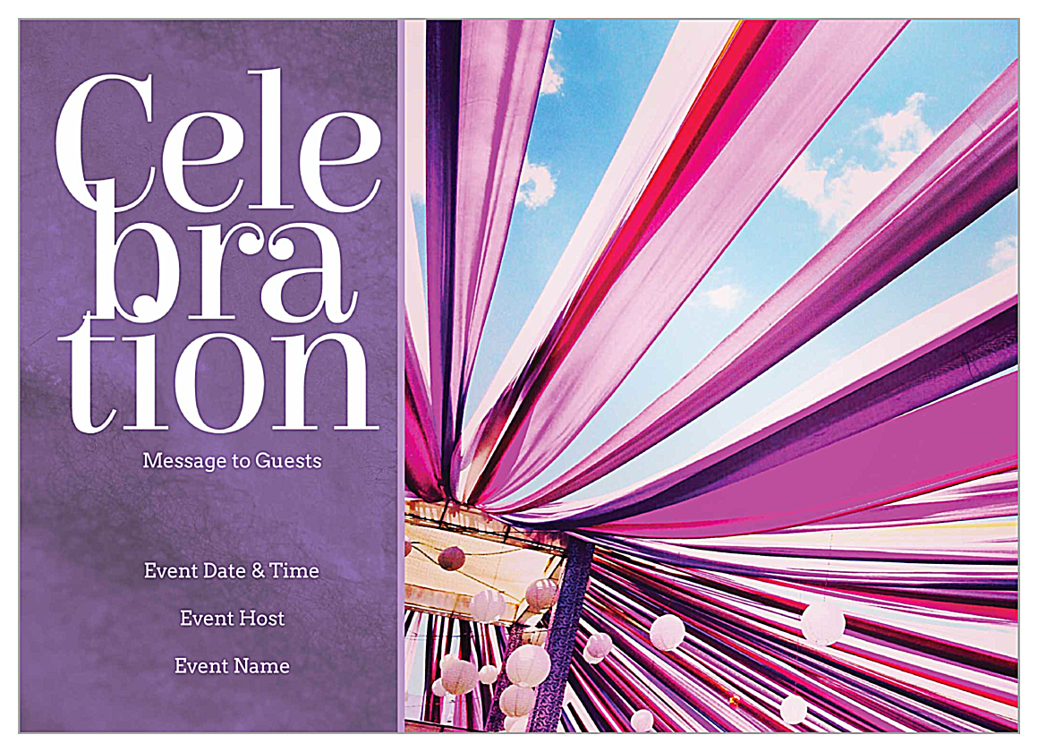Free Ribbon Celebration Invitation Card Design Templates front - Invitation Cards Maker