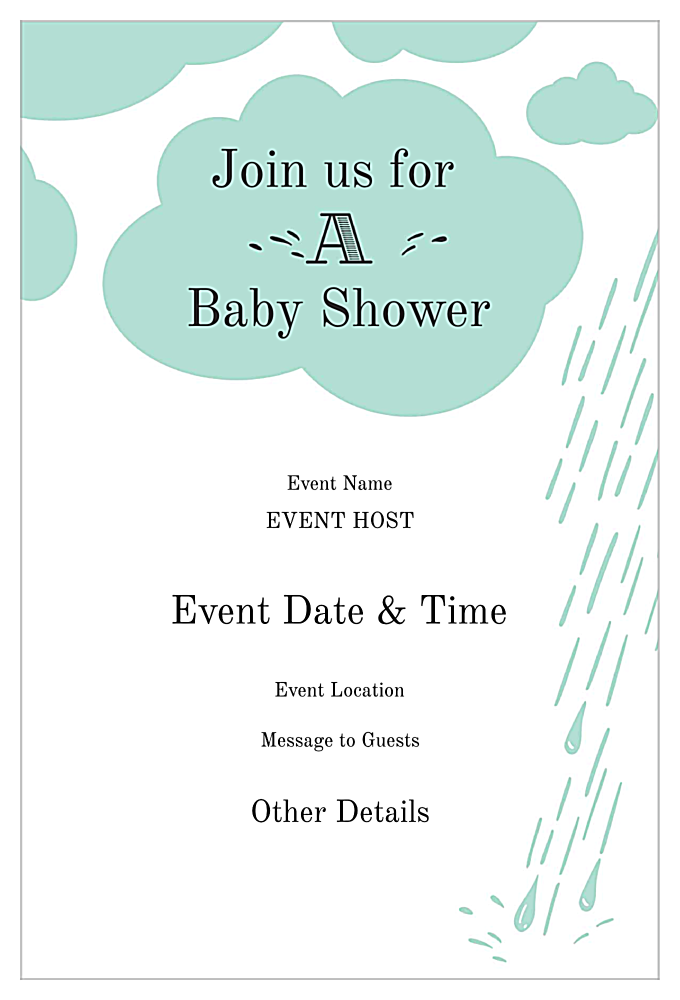 Raindrops Baby Shower back - Invitation Cards Maker
