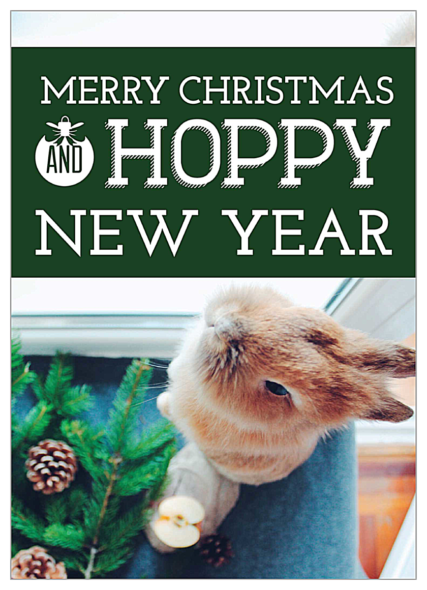 Hoppy Happy Holiday front - Invitation Cards Maker