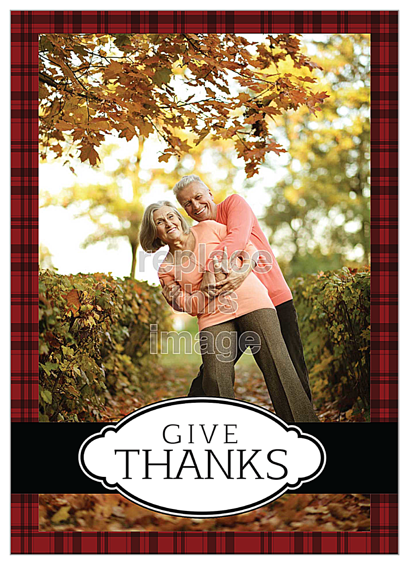 Thanks Plaid front - Invitation Cards Maker