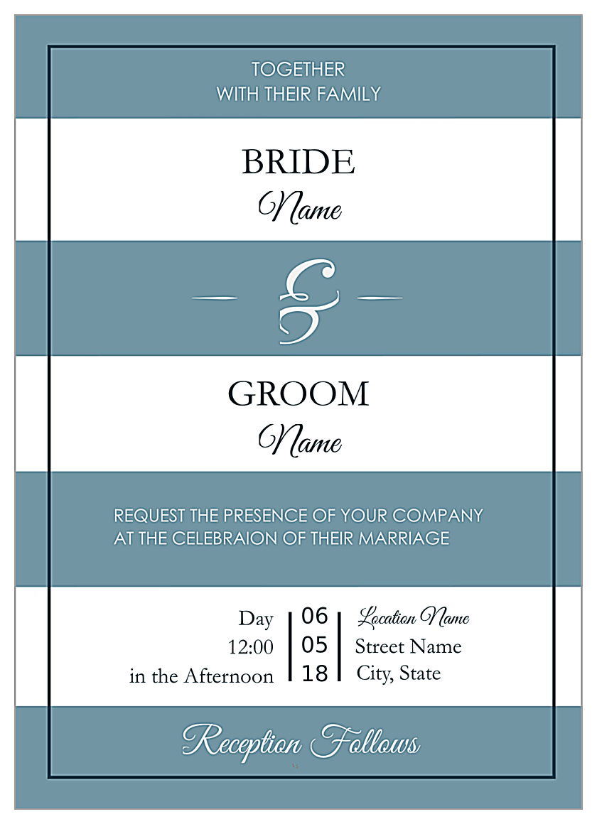 Wedding Stripes front - Invitation Cards Maker