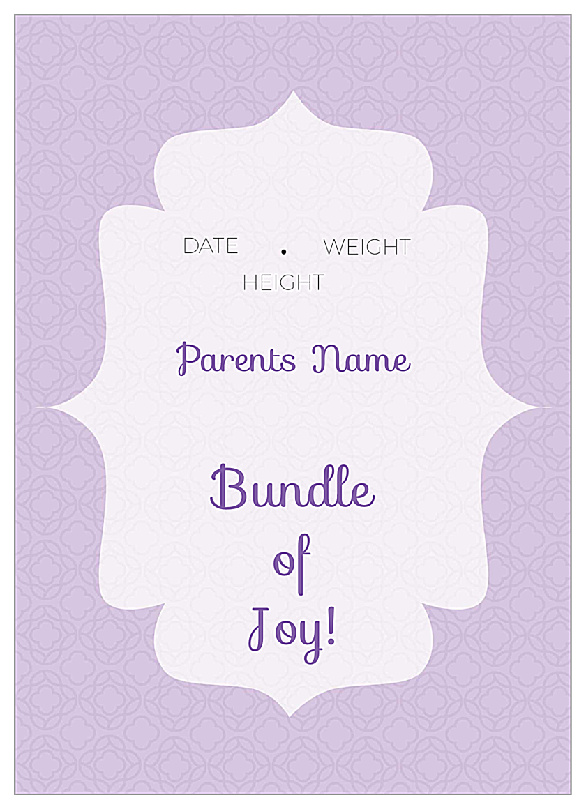 Bundle of Joy back - Invitation Cards Maker