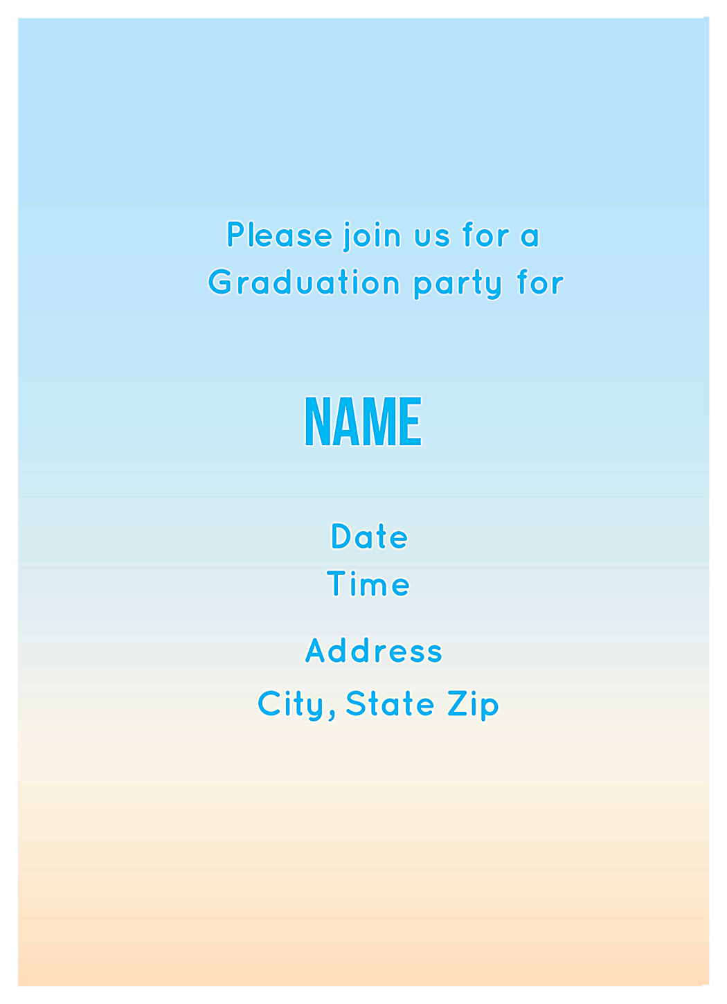 Grad Cap Party back - Invitation Cards Maker