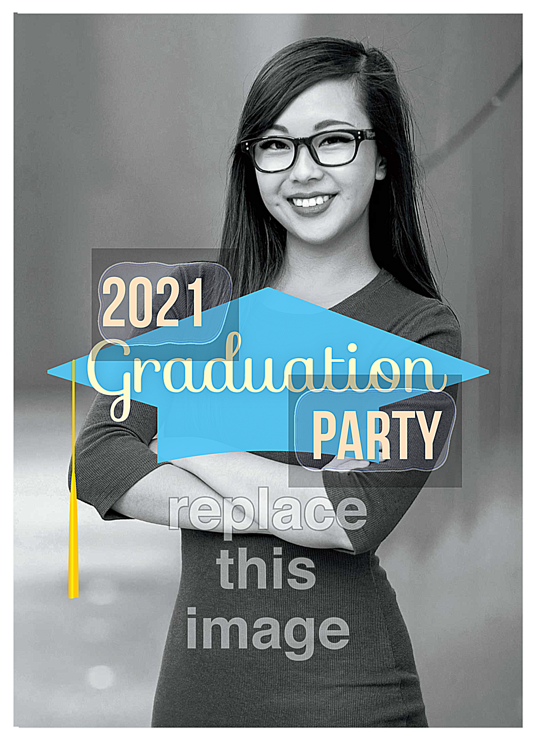 Grad Cap Party front - Invitation Cards Maker