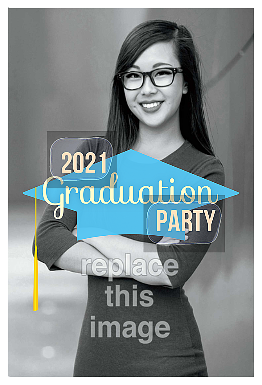 Grad Cap Party front - Invitation Cards Maker