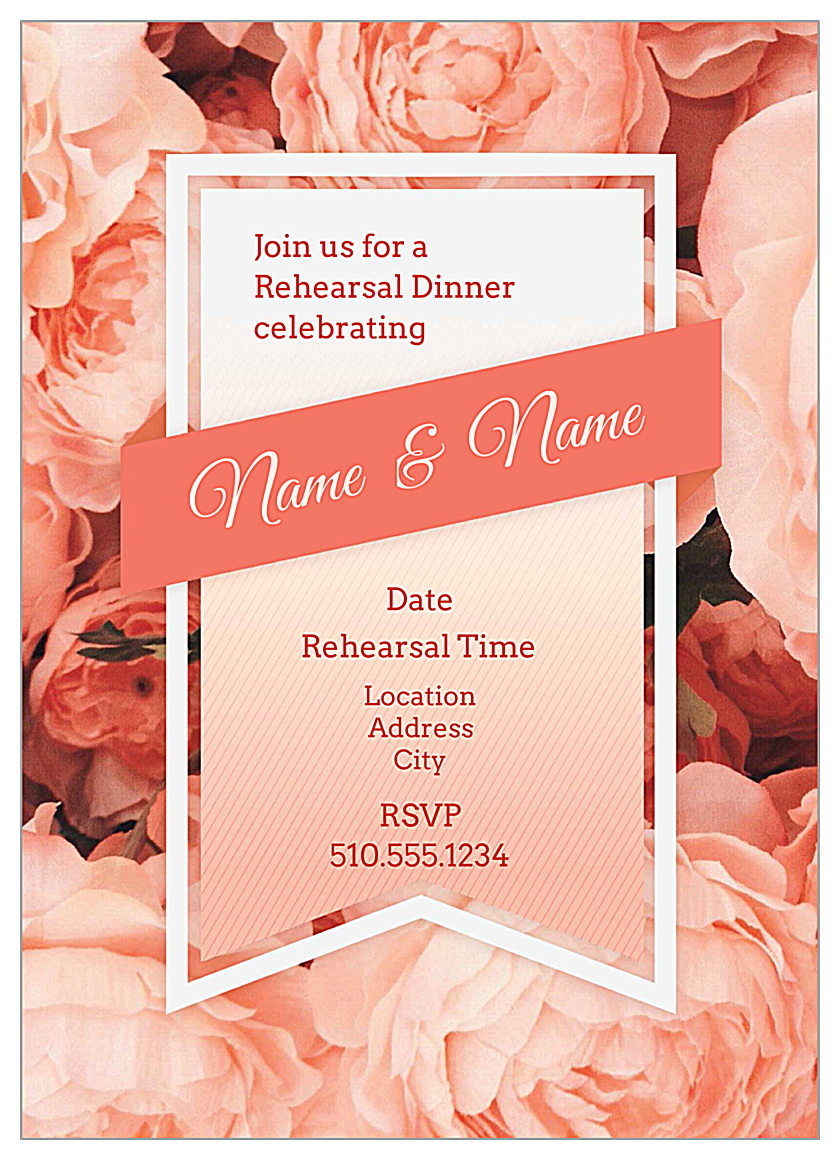 Bouquet and Ribbon front - Invitation Cards Maker