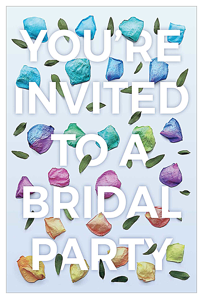 Rosey Bridal Party Petals front - Invitation Cards Maker