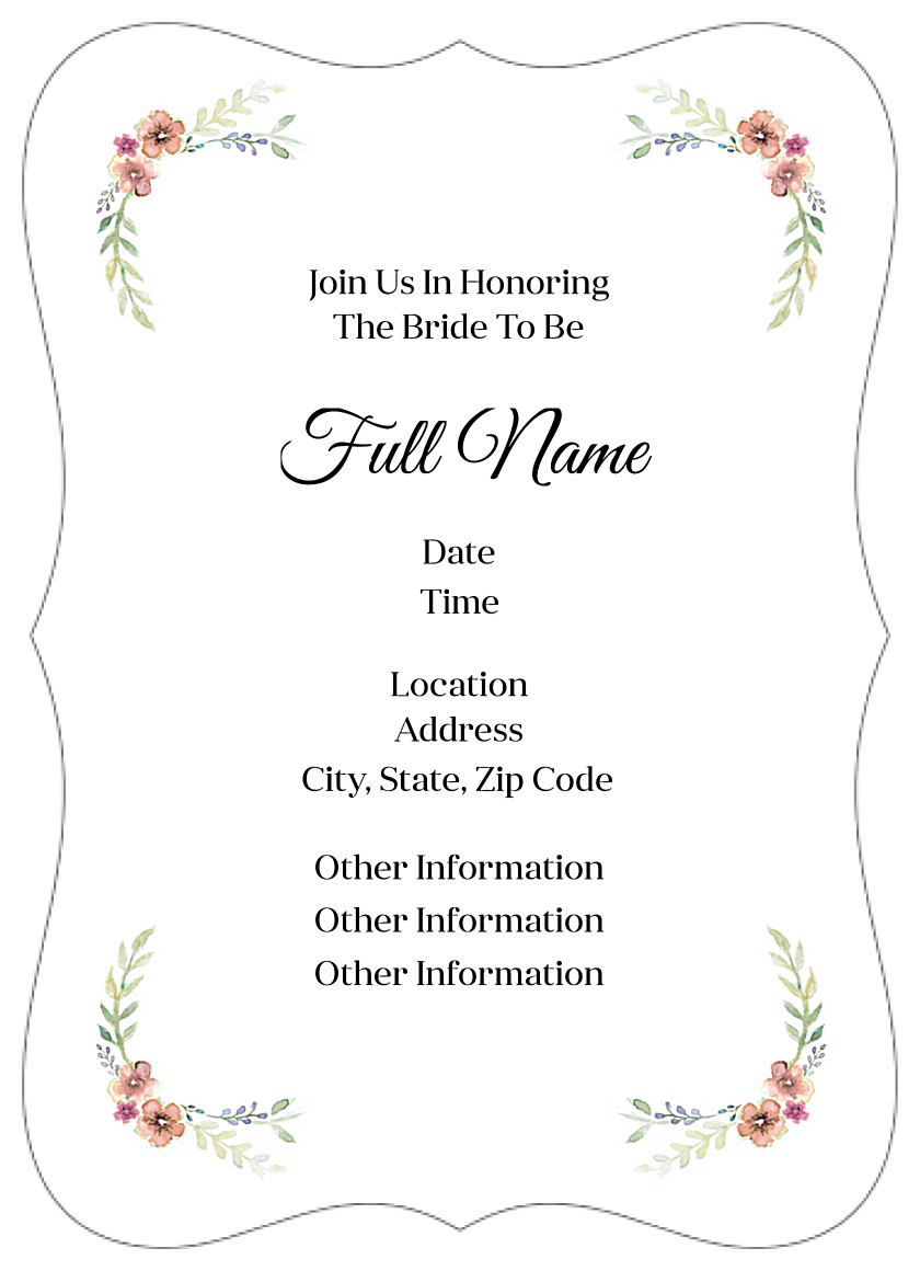 Flower Shower back - Invitation Cards Maker