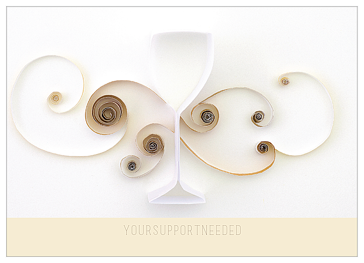 Quilling Wine Glass front - Postcards Maker