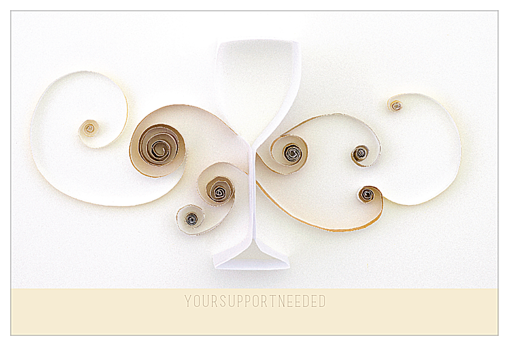 Quilling Wine Glass front - Ultra Postcards Maker